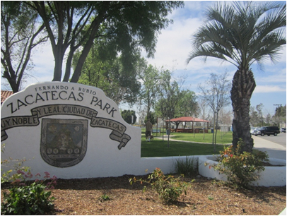 The entrance sign to Zacatecas Park