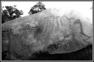 Rock writing by San Gabrieleno Indians