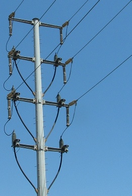 High power lines bring in electricity from Southern California Edison